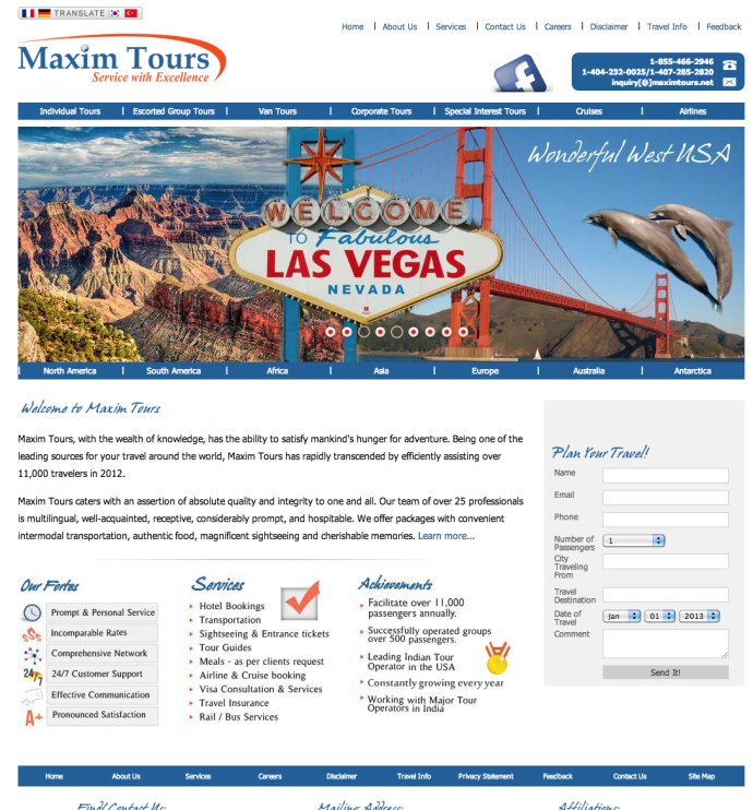 web page design brand travel